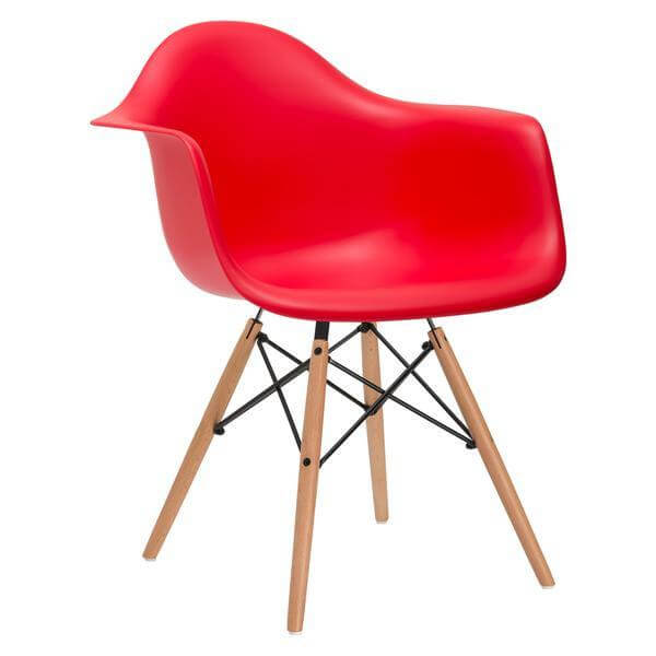 red armchair mid century