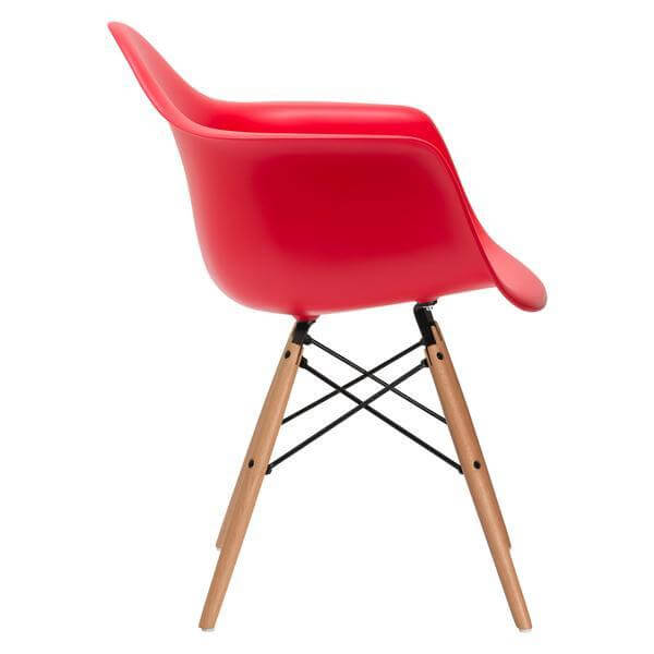 red eames chair