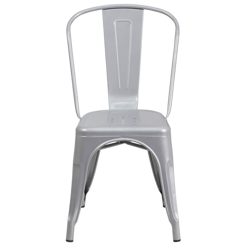 silver metal cafe chair