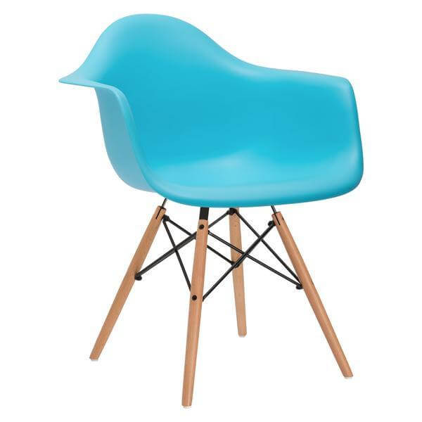 sky blue wood chair