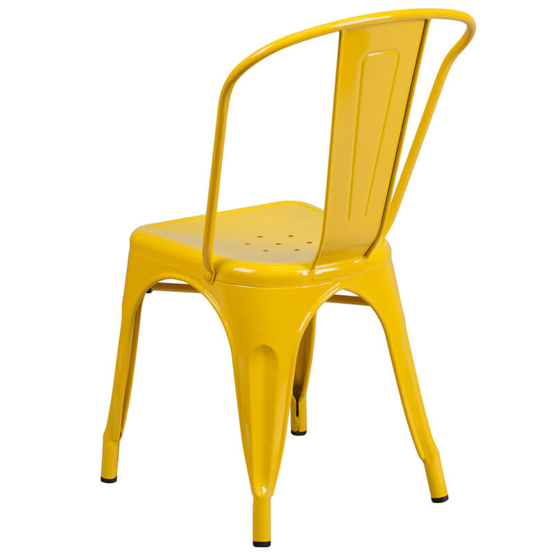 yellow metal cafe chair