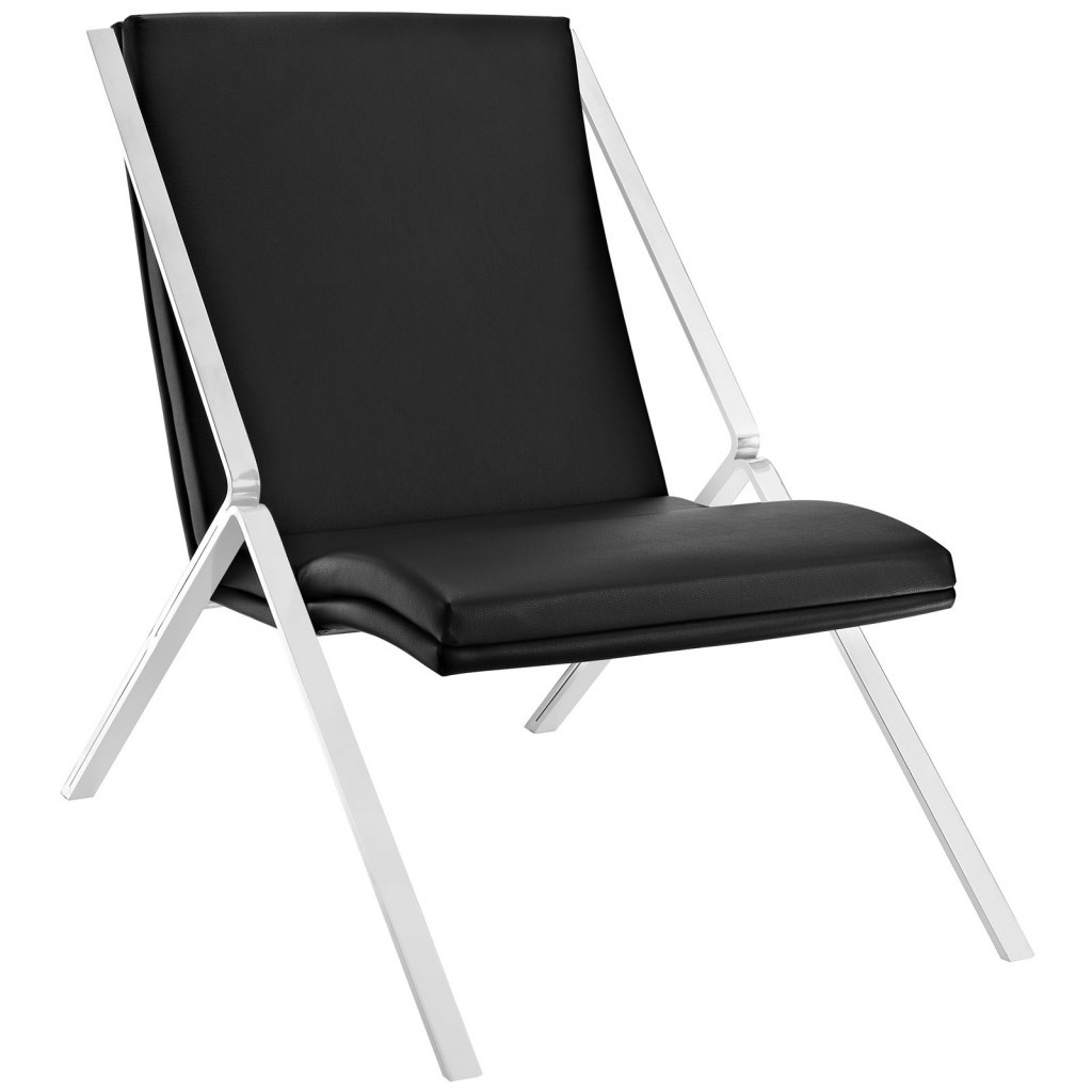 Black Leather Balance Rocking Chair