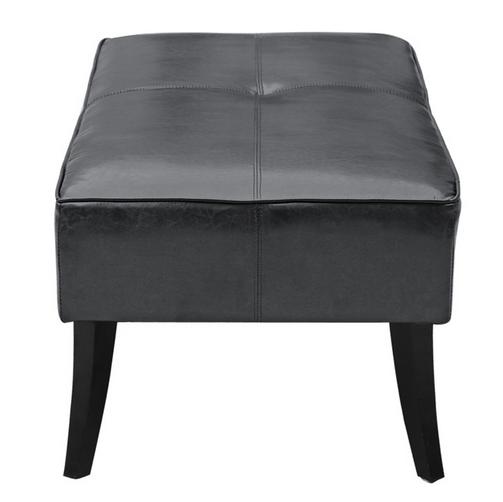 Black Leather Bleeker Ottoman 3