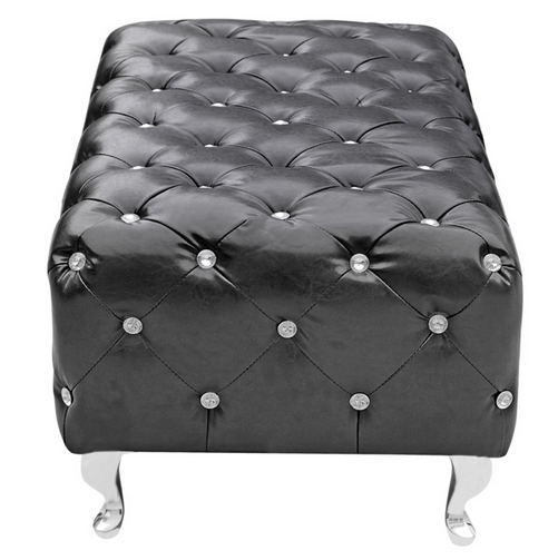Black Leather Jeweled Bench 4