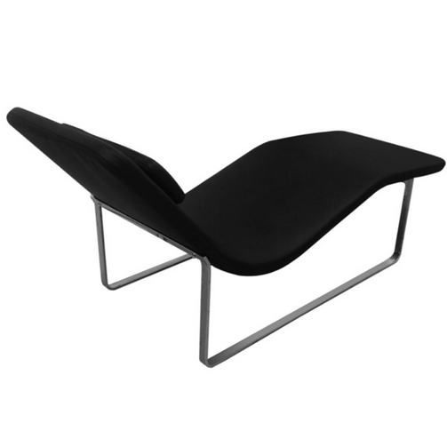 Black Leather Orbit Lounge Chair 3