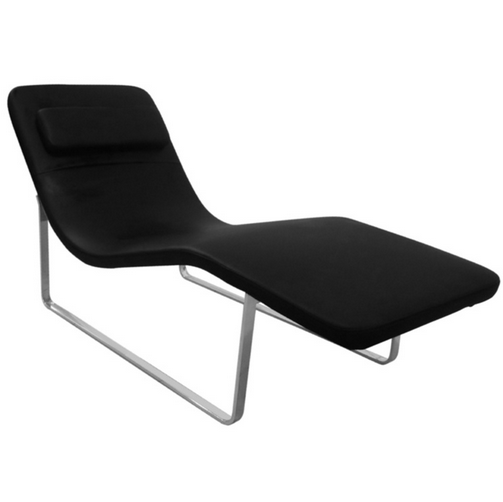 Black Leather Orbit Lounge Chair