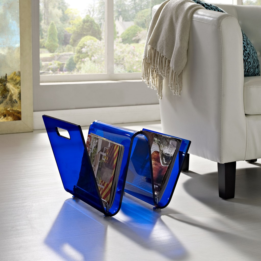 Blue Acrylic Wave Magazine Rack 4