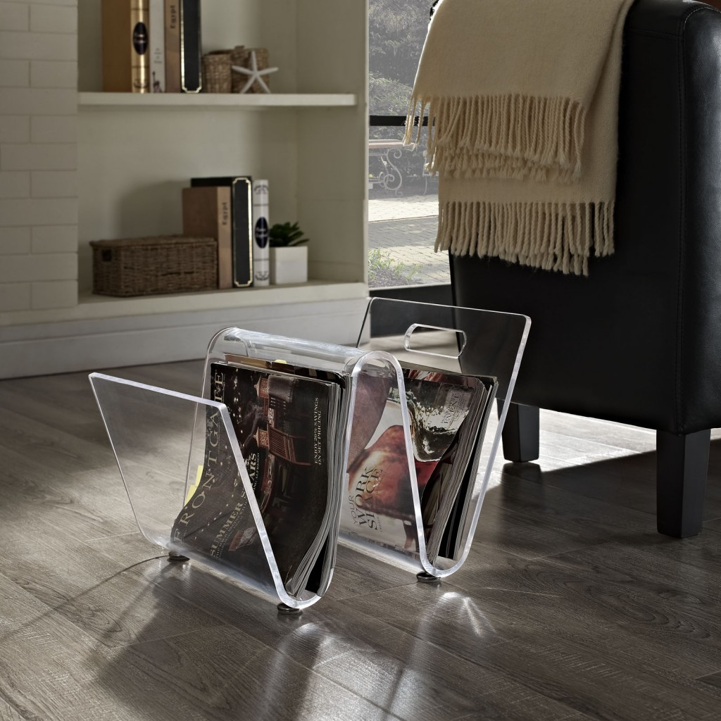 Clear Acrylic Wave Magazine Rack 4