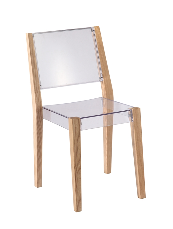Clear Wood Square Chair