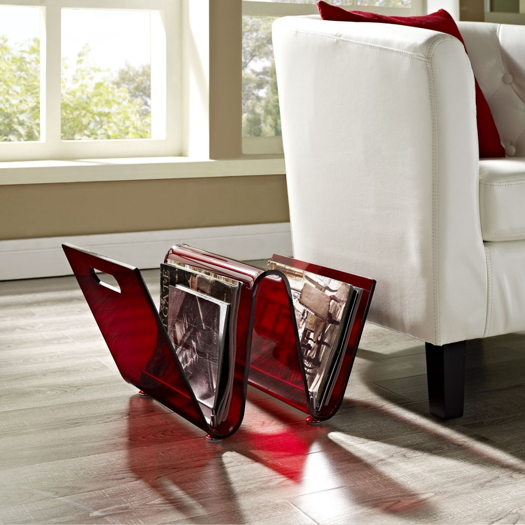 Red Acrylic Wave Magazine Rack 4