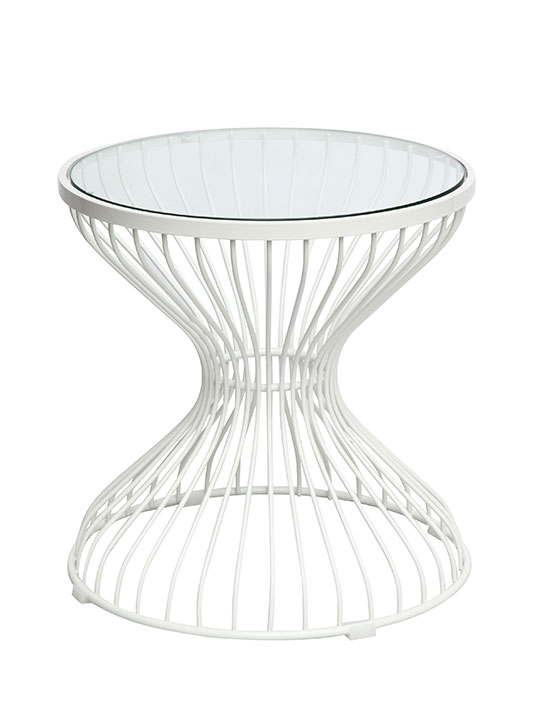 White Caged Wire Side Table