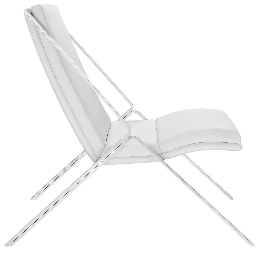 White Leather Balance Rocking Chair 2