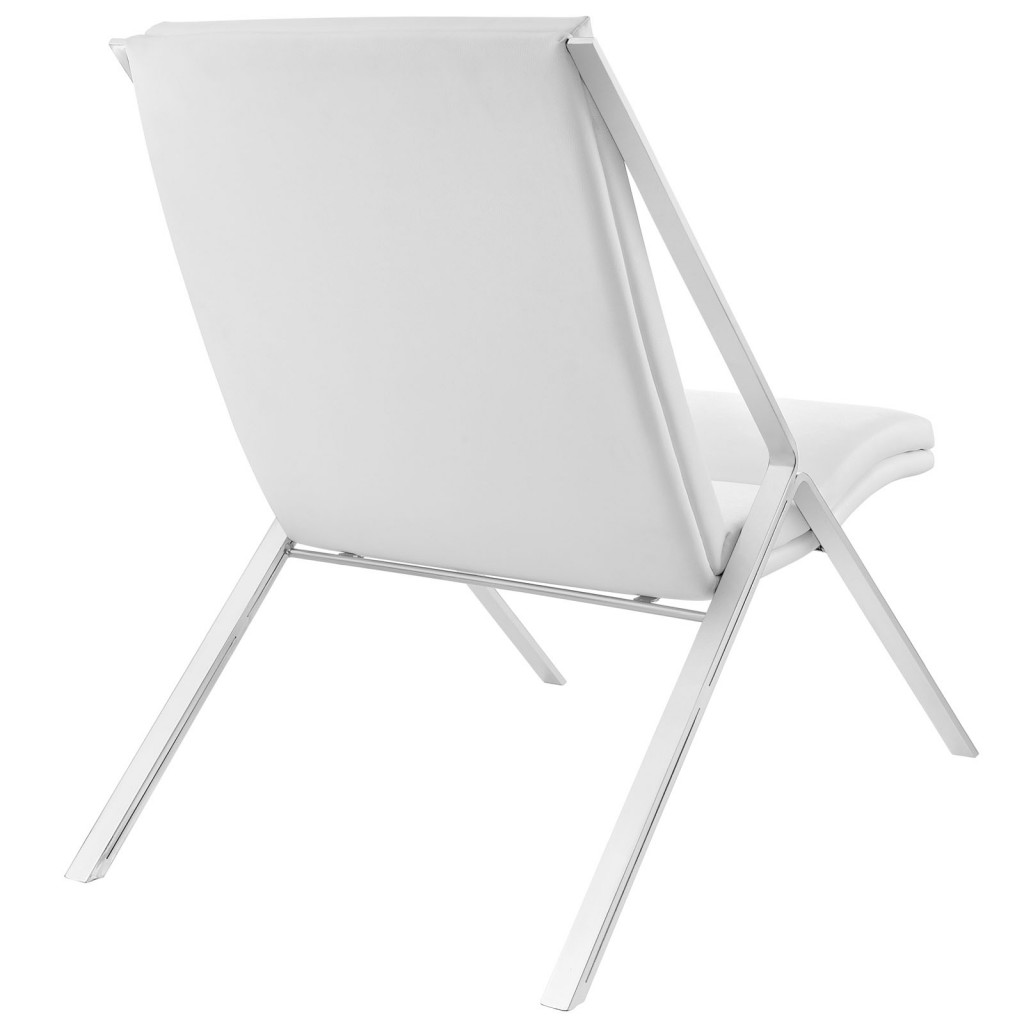 White Leather Balance Rocking Chair 3