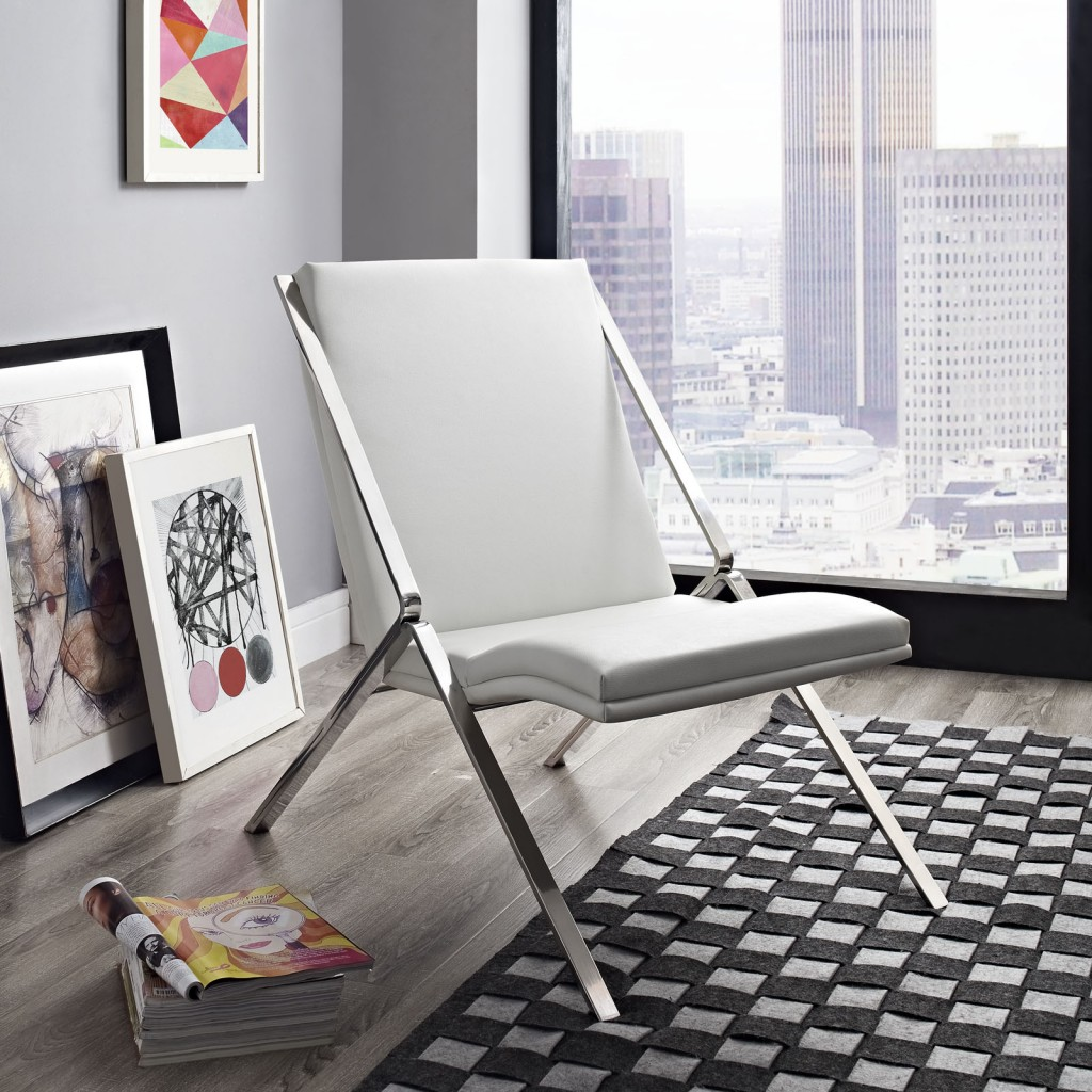 White Leather Balance Rocking Chair 4