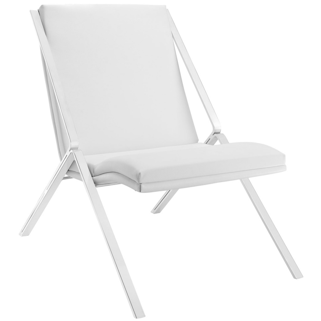 White Leather Balance Rocking Chair