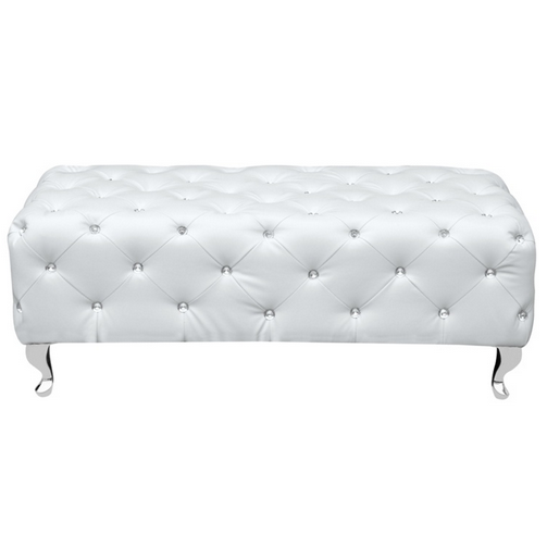 White Leather Jeweled Bench 3