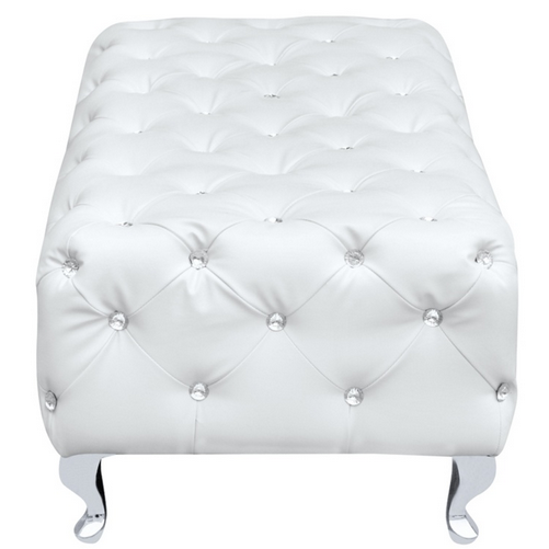 White Leather Jeweled Bench 4