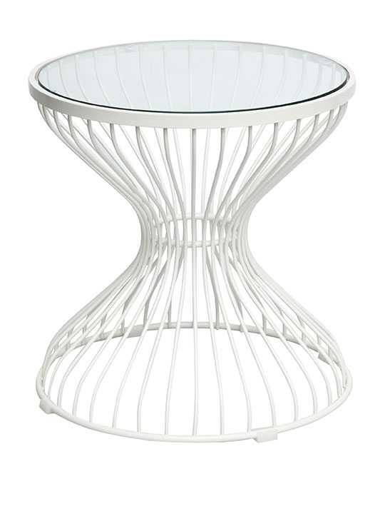 White Wire caged Side table