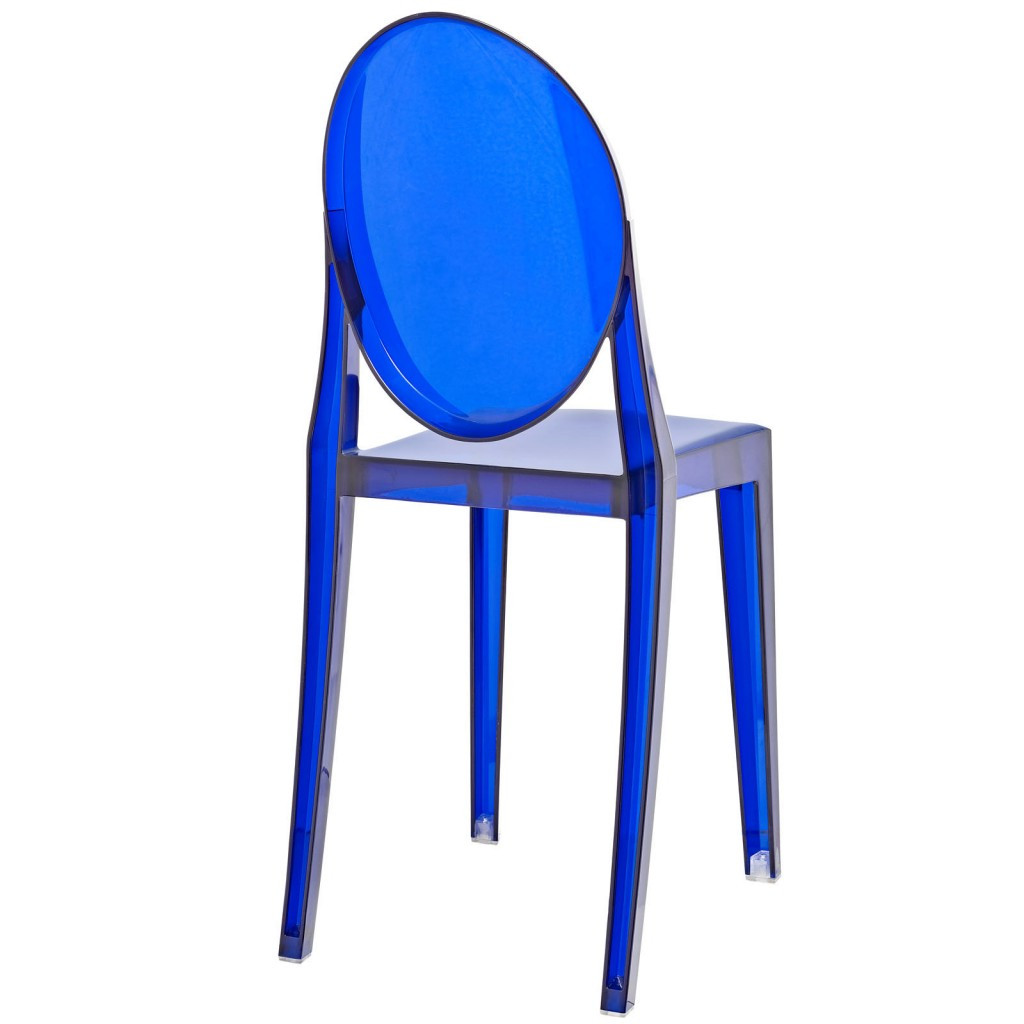Blue Transparent Throne Side Chair 3