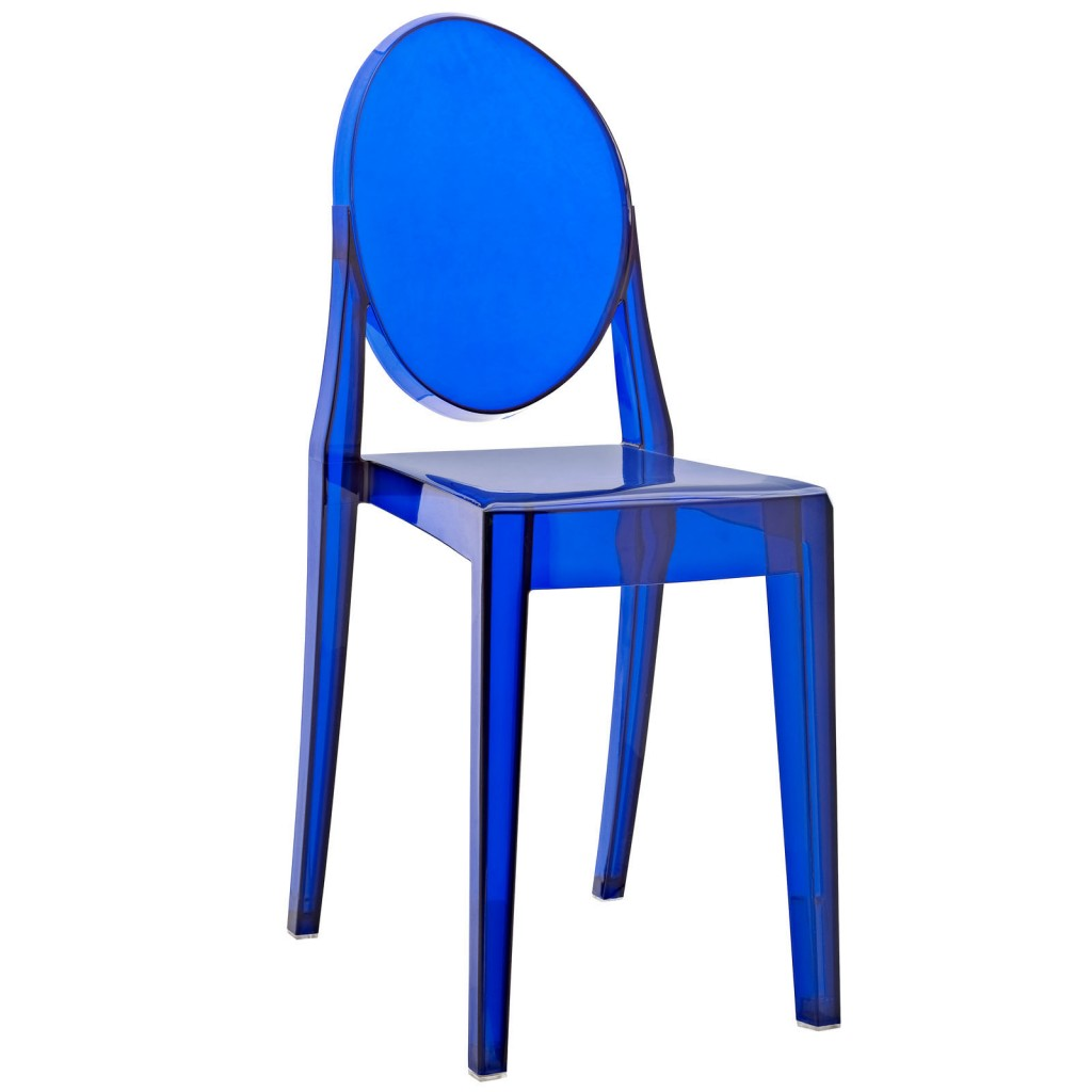 Blue Transparent Throne Side Chair