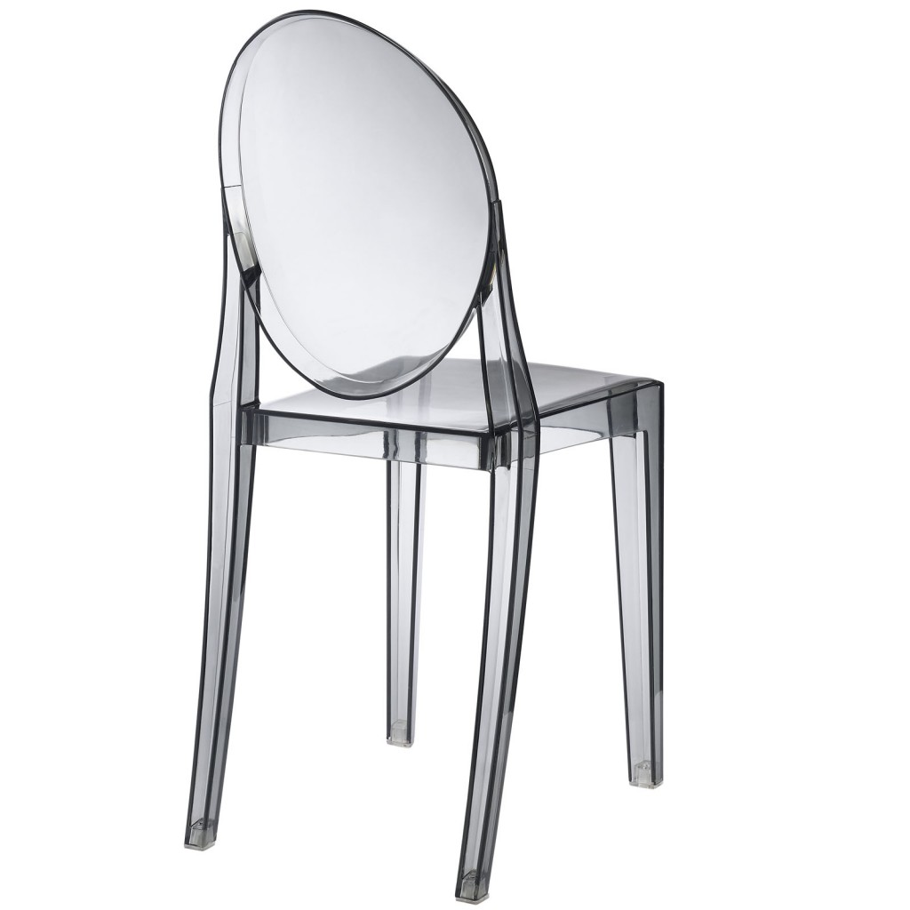 Gray Transparent Throne Side Chair