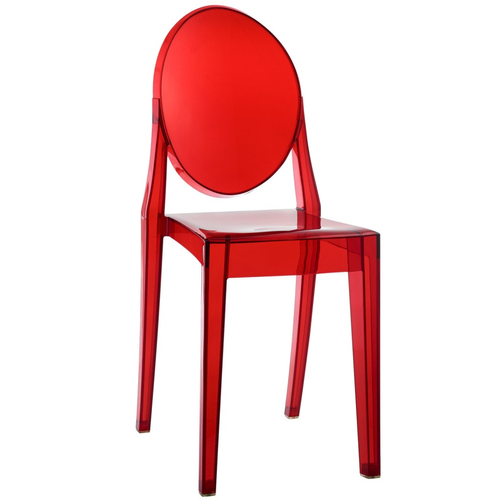 Red Transparent Throne Side Chair