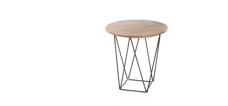 Walnut Wood Wire SIde Table