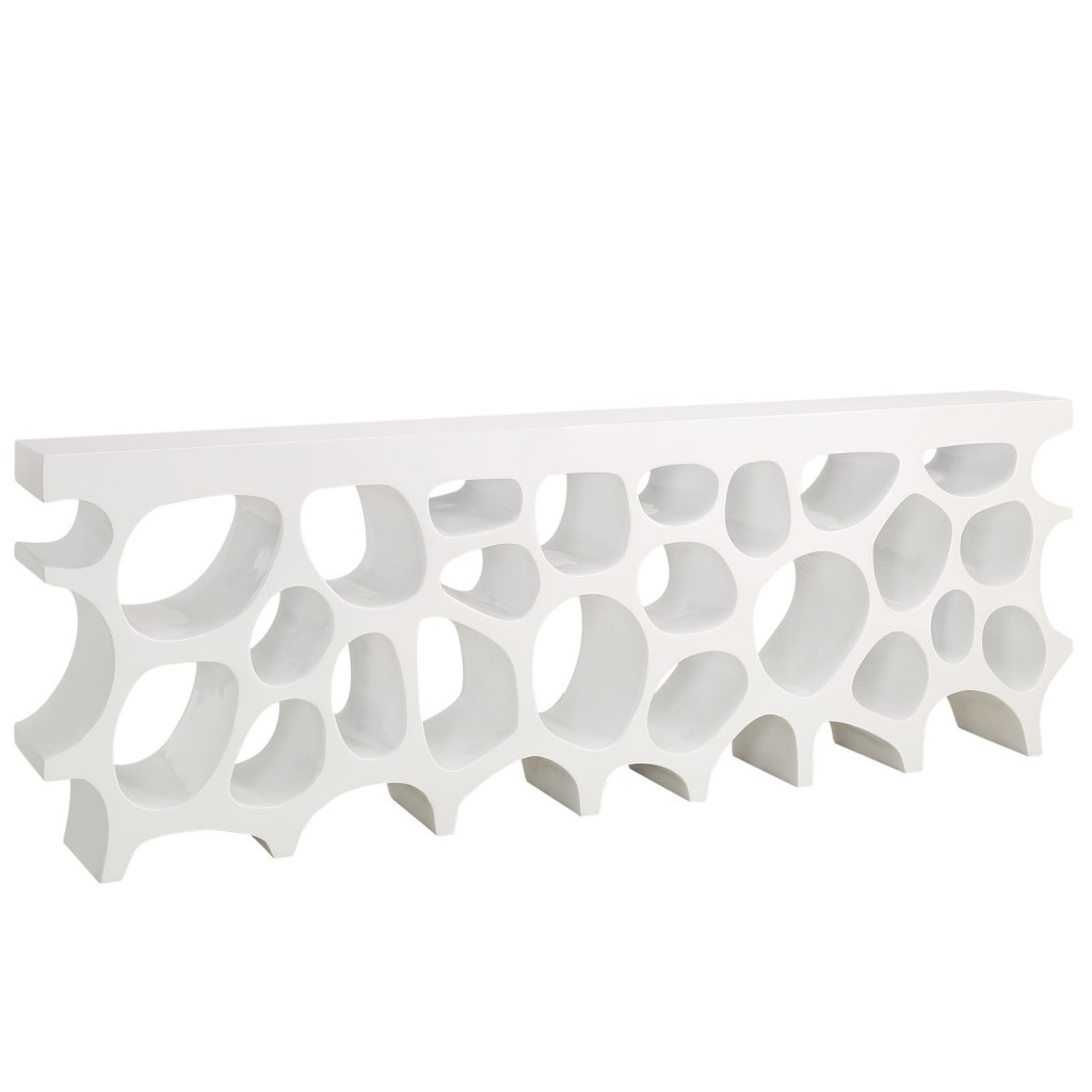 White Hive Console Table