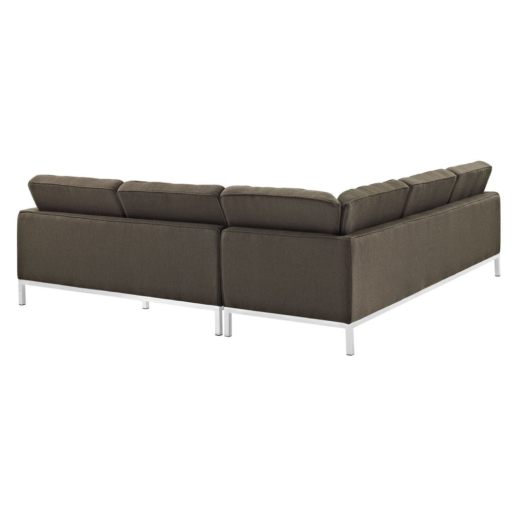 Bateman Wool L Shaped Sectional Sofa Brown 2
