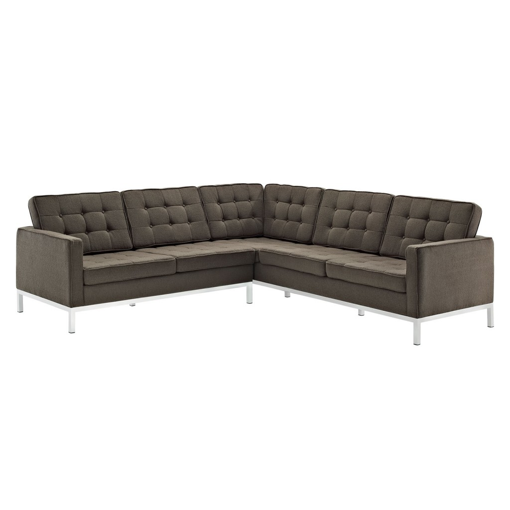 Bateman Wool L Shaped Sectional Sofa Brown