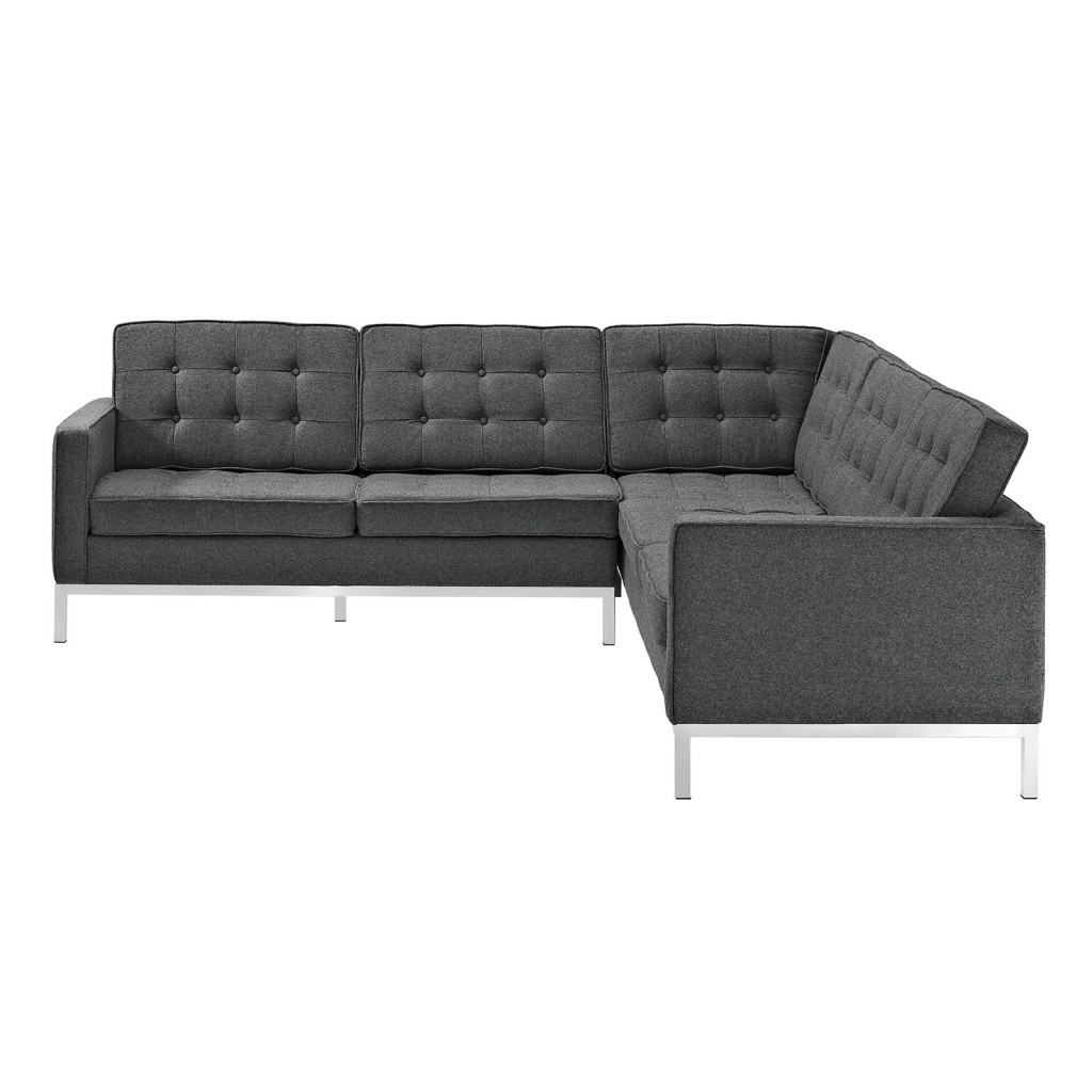 Bateman Wool L Shaped Sectional Sofa Dark Gray 3
