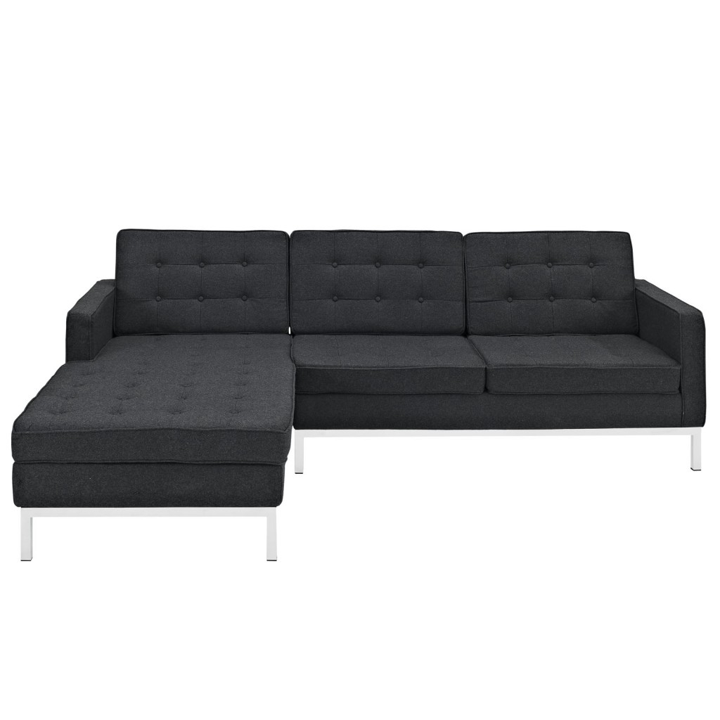 Bateman Wool Left Arm Sectional Sofa Dark Gray 2