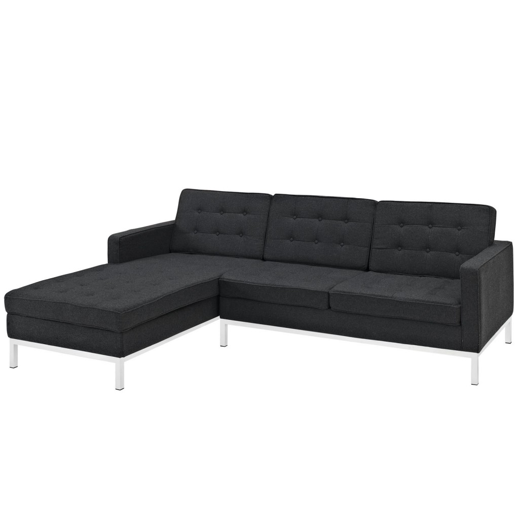 Bateman Wool Left Arm Sectional Sofa Dark Gray
