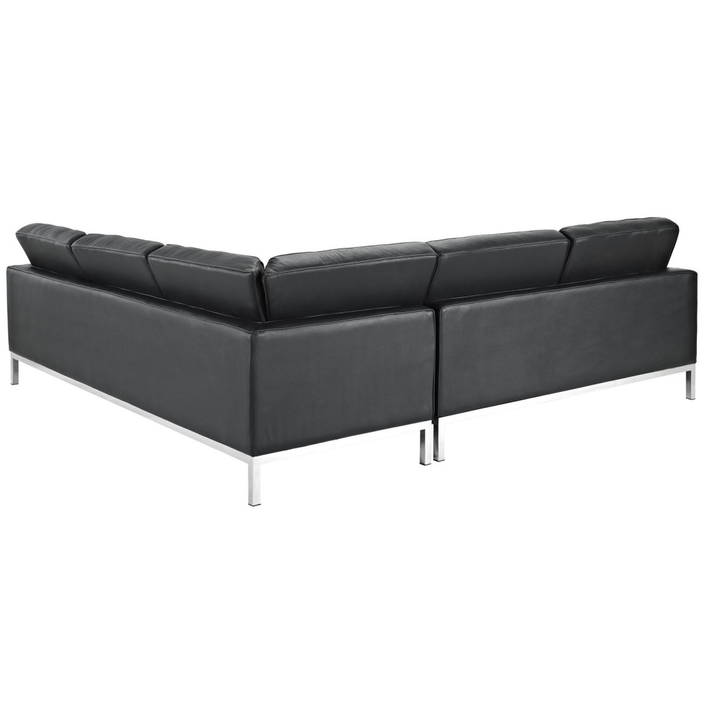 Black Bateman Leather L Shaped Sectional Sofa 2