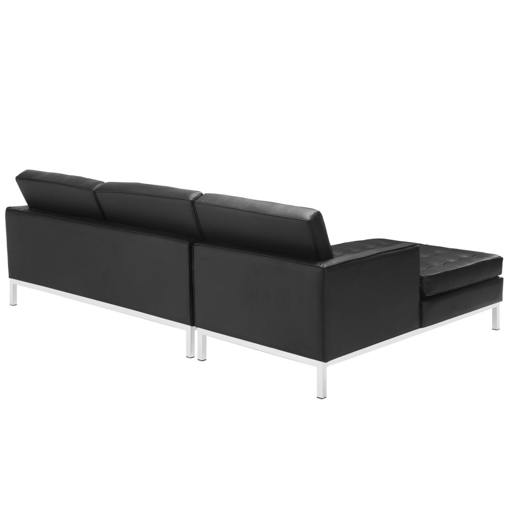 Black Bateman Leather Left Arm Sectional Sofa 2