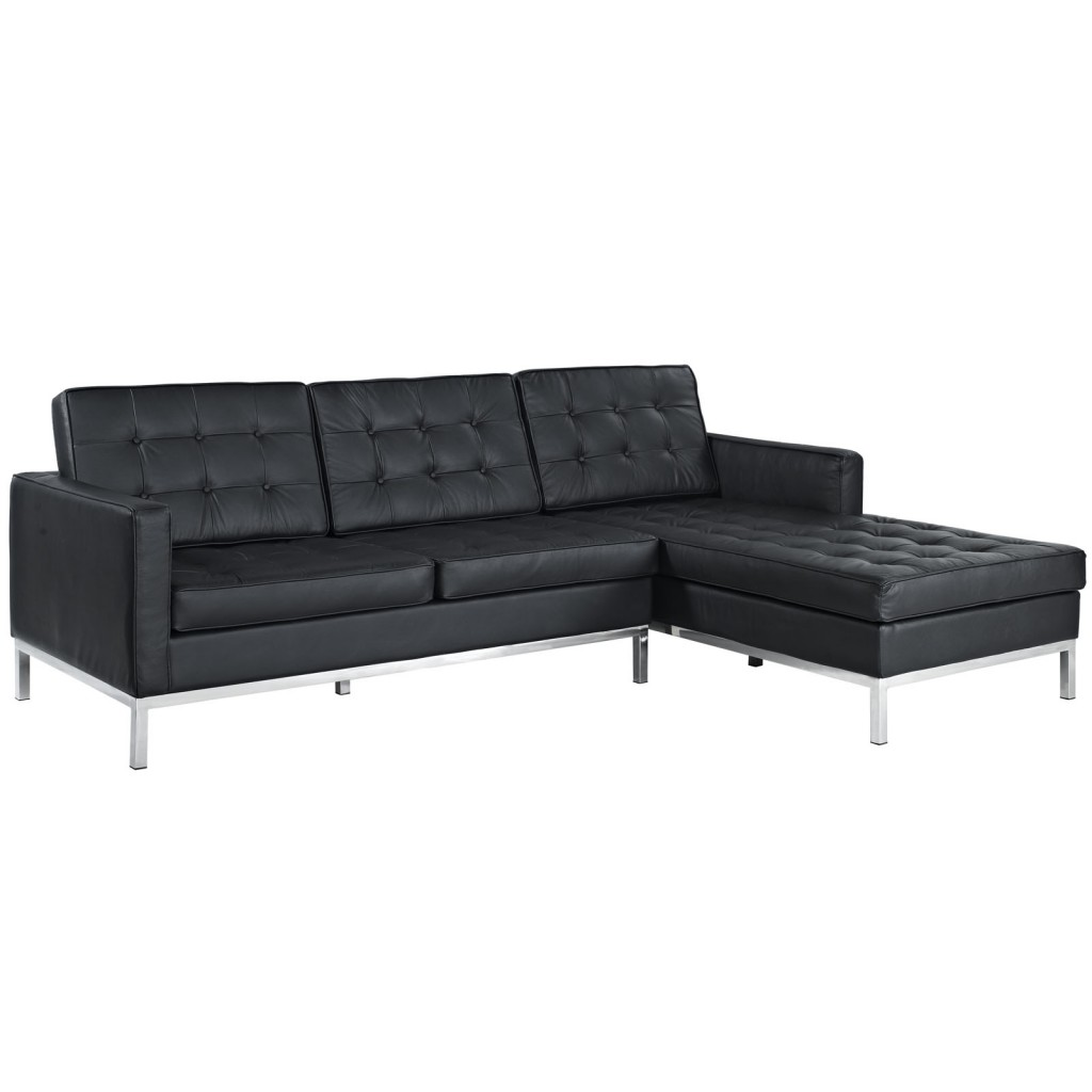 Black Bateman Leather Right Arm Sectional Sofa