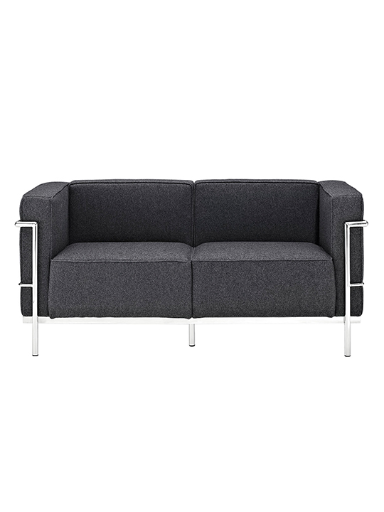 Dark Gray Simple Large Wool Loveseat