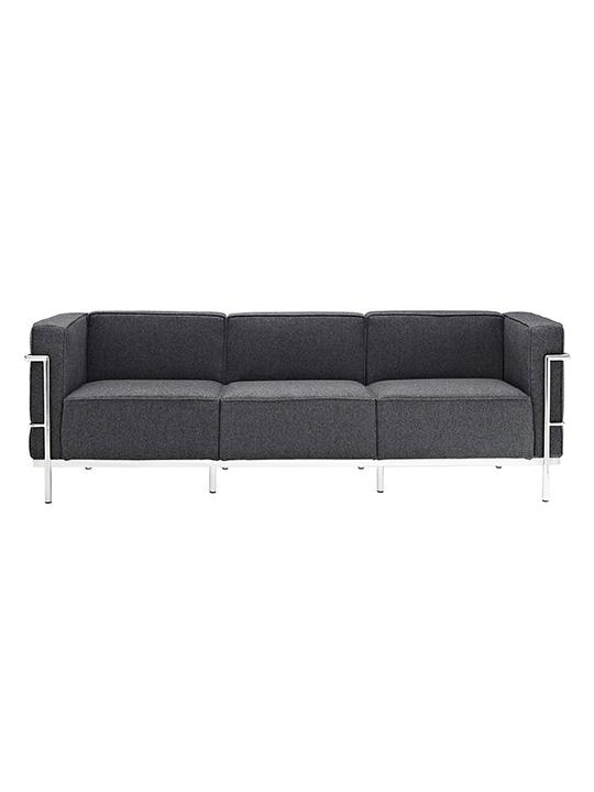 Dark Gray Simple Large Wool Sofa