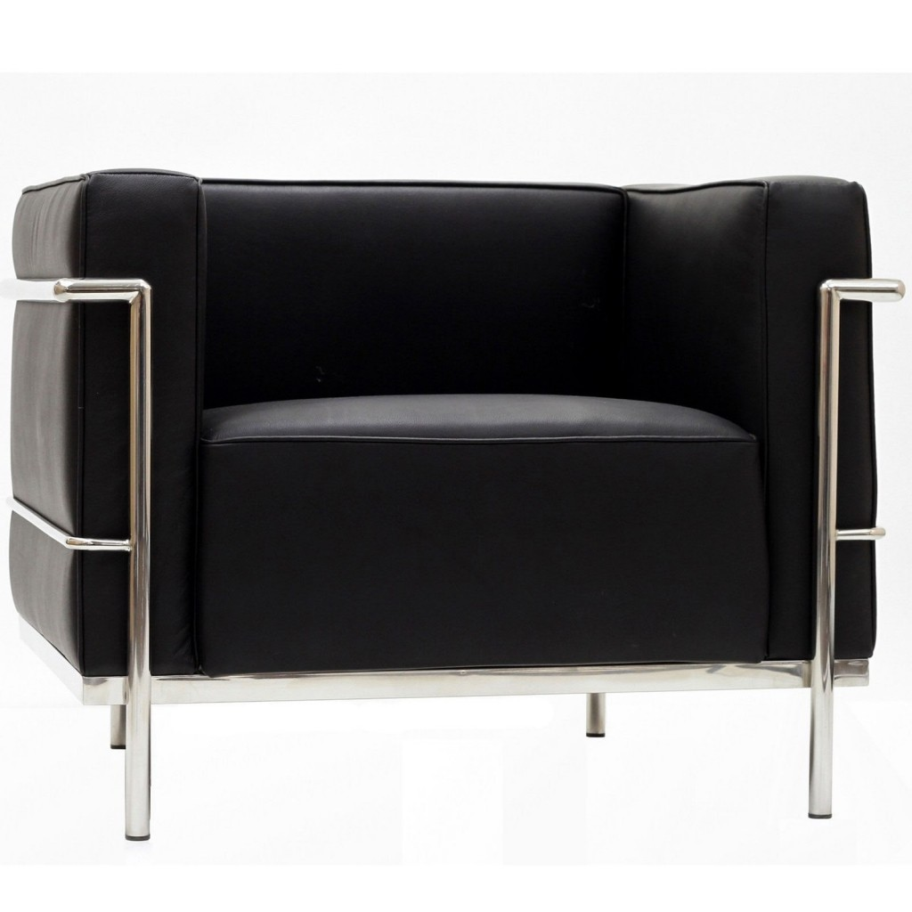 Simple Large Leather Armchair Black 2