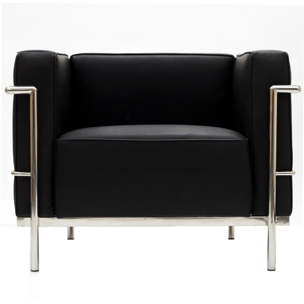 Simple Large Leather Armchair Black