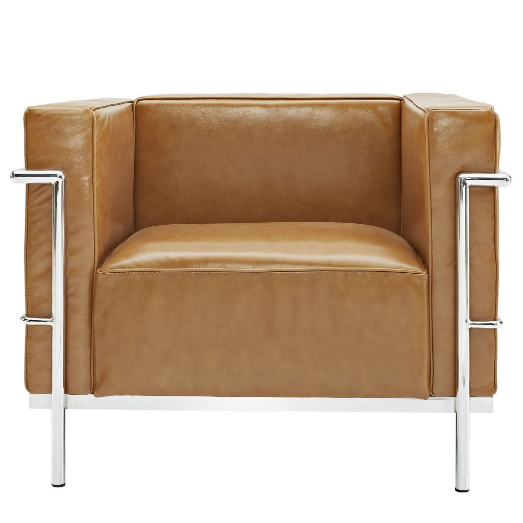Simple Large Leather Armchair Tan