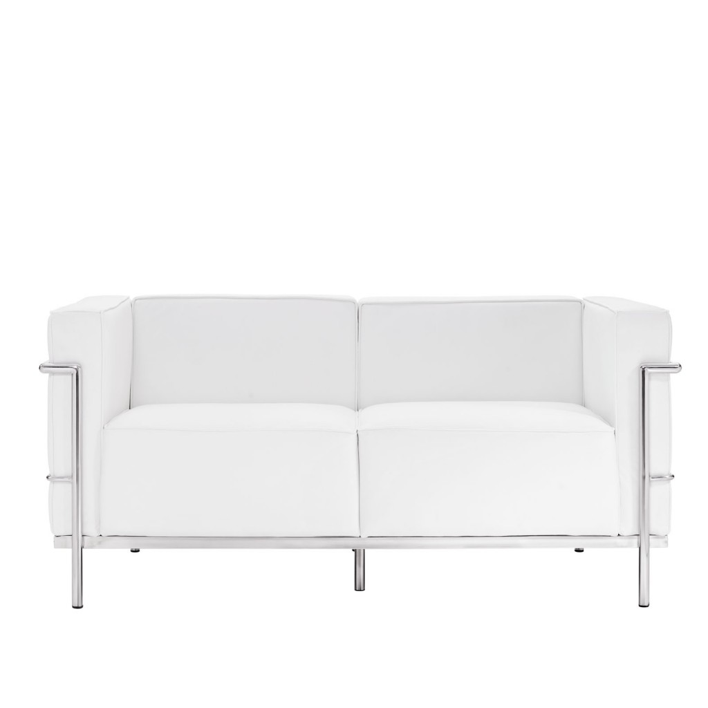 Simple Large Leather Loveseat White 1