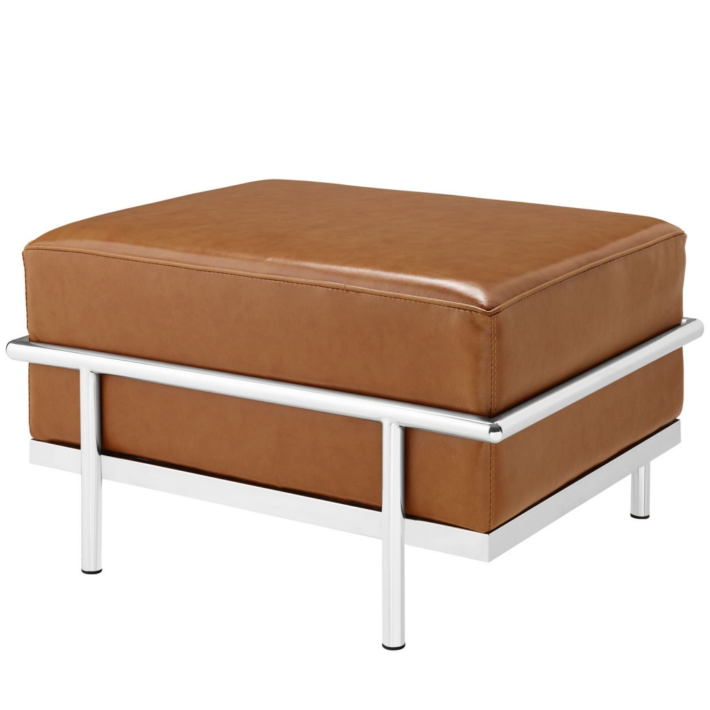 Simple Large Leather Ottoman Tan 1