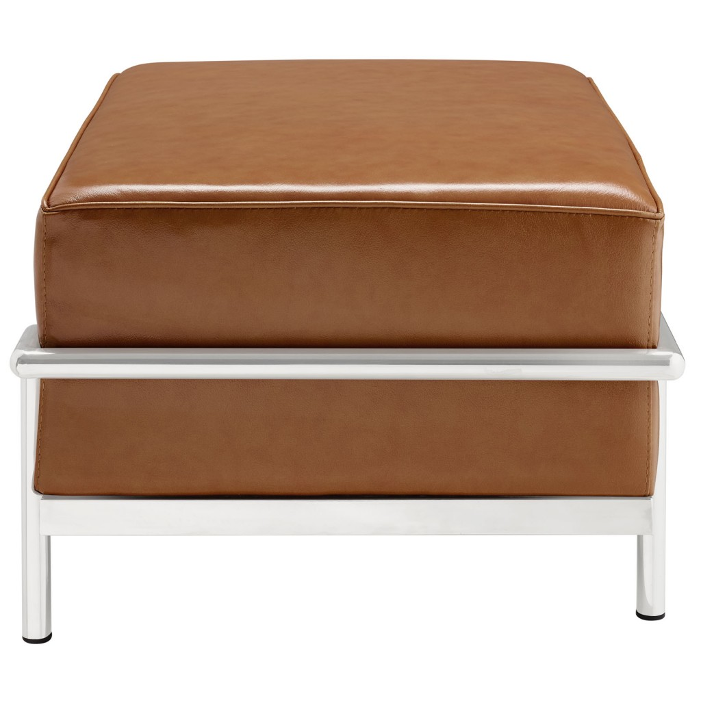 Simple Large Leather Ottoman Tan 2