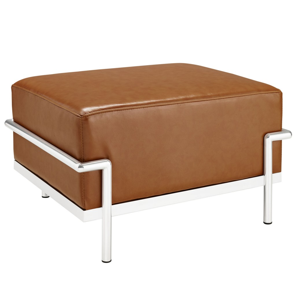Simple Large Leather Ottoman Tan