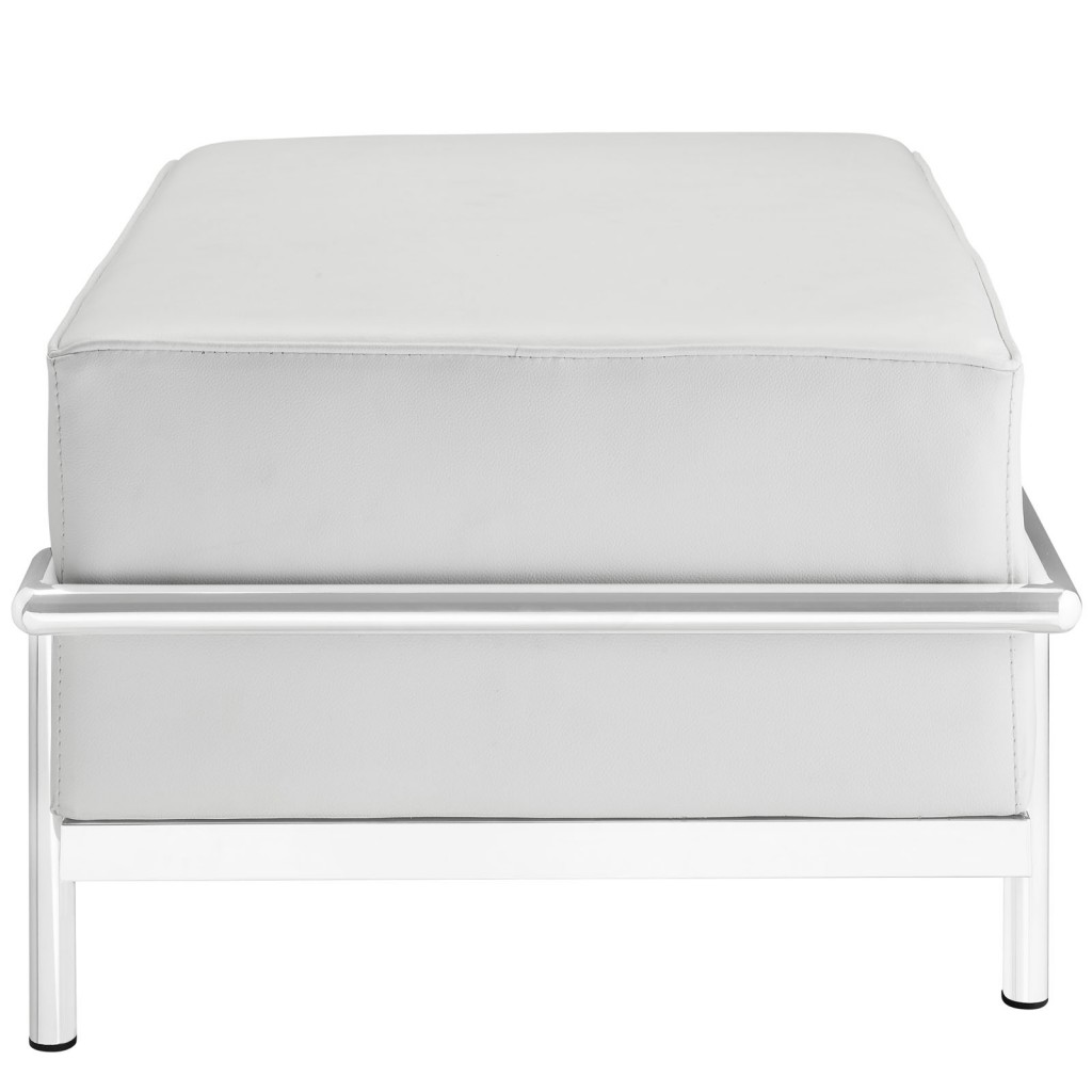 Simple Large Leather Ottoman White 2