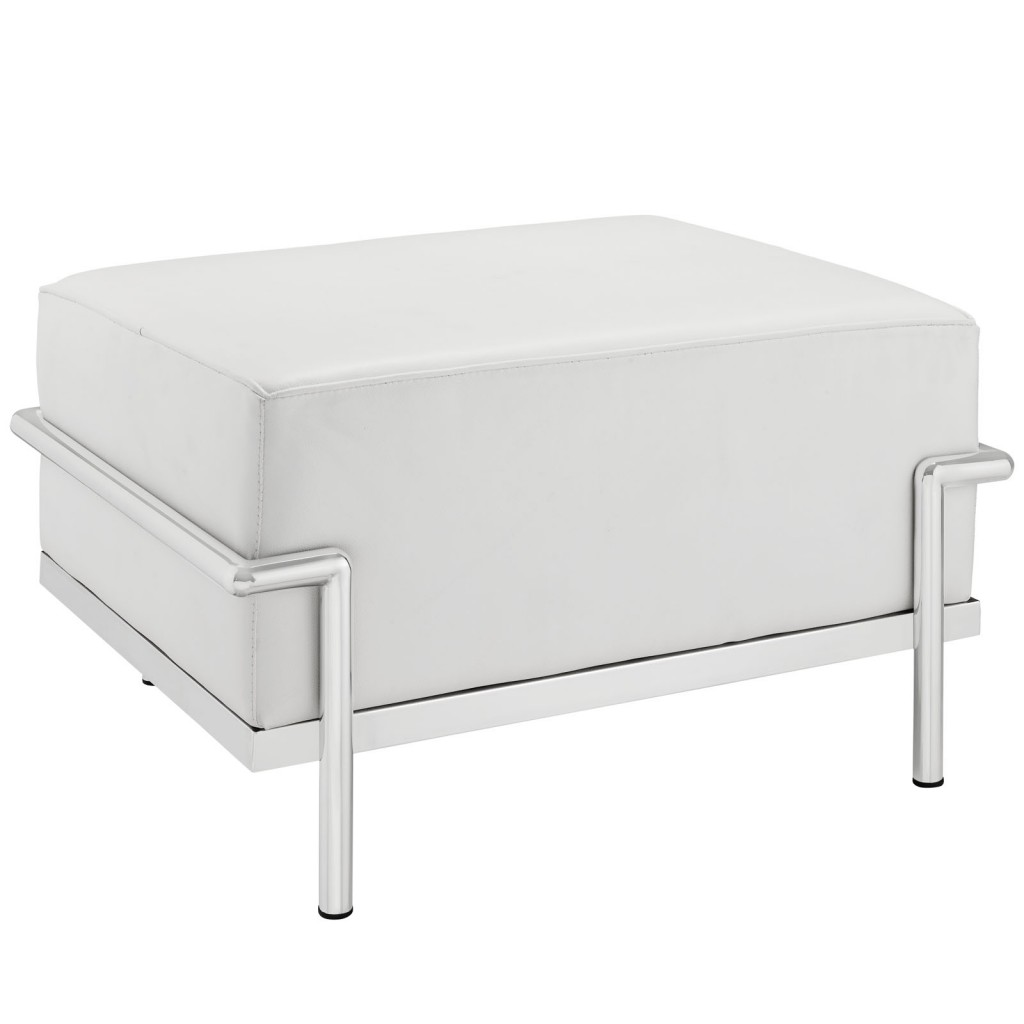Simple Large Leather Ottoman White