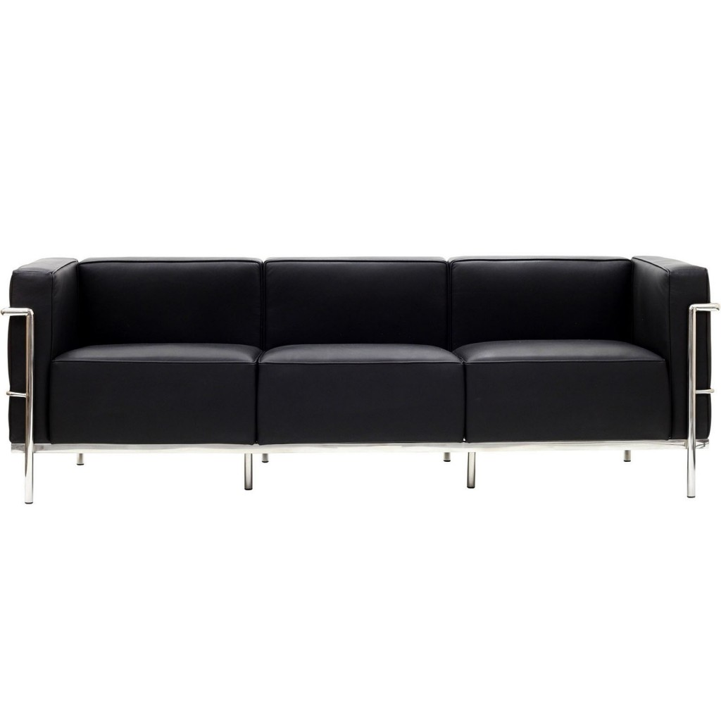 Simple Large Leather Sofa Black