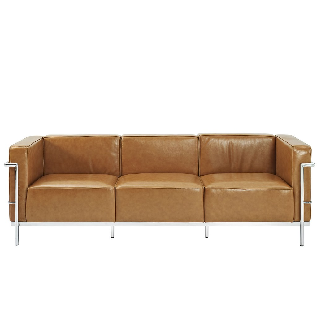 Simple Large Leather Sofa Tan