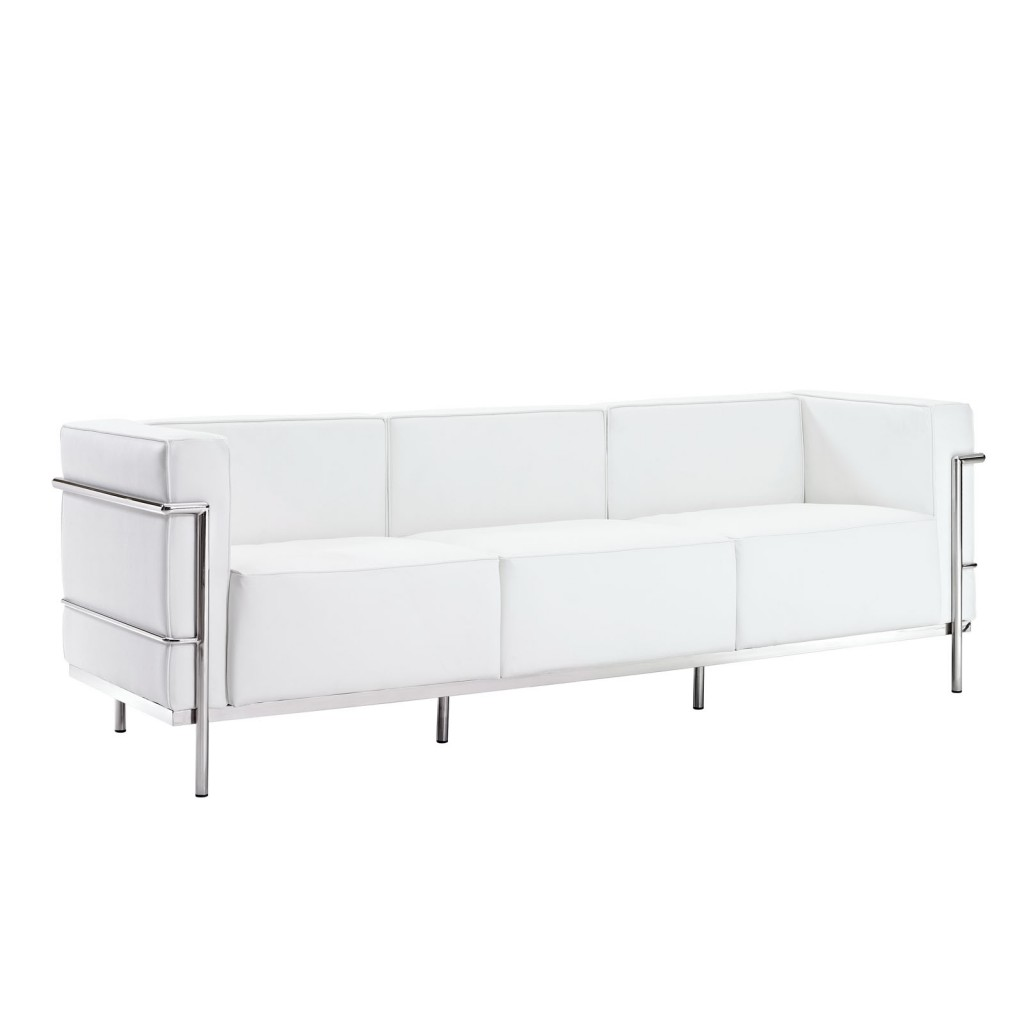 Simple Large Leather Sofa White 1
